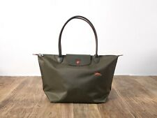 Longchamp New Le Club Pliage Nylon Tote Handbag KHAKI Large Authentic France