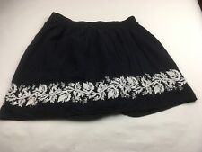 A Pea In The Pod Maternity Skirt Size M BOHO Navy Blue w/ White Embroidery B6