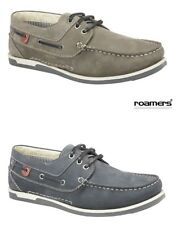 Mens ROAMERS Leather Deck Boat Shoe 3 eyelet Nubuck Navy Blue OR Grey Size 6 -12