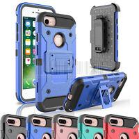 Hybrid Hard Armor Holster Case Kickstand Cover Belt Clip For Apple iPhone 7/Plus