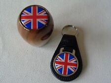 CLASSIC WOOD GEAR KNOB WITH UNION JACK LOGO AND MATCHING LEATHER KEY FOB*NEW*