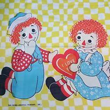 Vintage Raggedy Ann & Andy Sheet fitted flat Pillowcase Twin Doll Crafts Curtain