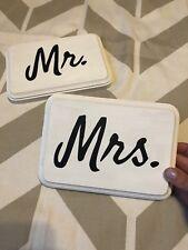 mr and mrs wedding signs Set Of 2 5x7 wood handmade