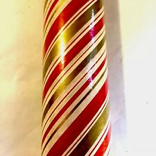 Vtg Full Roll Nos Christmas Gift Wrap Wrapping Paper Mip Candy Stripe Design Mcm