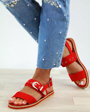 New Womens Flat Sandals Buckle Ankle Strap Comfy Holiday Summer Shoes Sizes 3-8