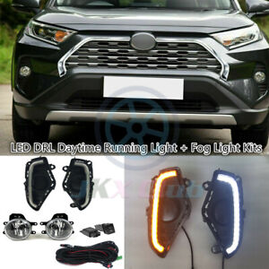 For Toyota RAV4 2019-2021 LED DRL Day Lamps & Halogen Fog Lights w/ Harness Set