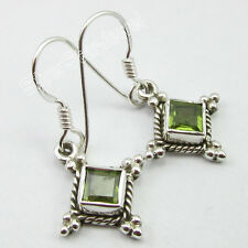 "92.5% Pure Sterling Silver Rare SQUARE PERIDOT ETHNIC Earrings 1.2"" 3.2 Grams"