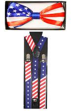 NEW Mens and Women Combo Suspender + BowTie -  USA FLAG