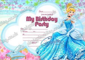 Disney Princess Cinderella birthday invitations Cinderella birthday party x 8
