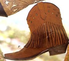 NEW COGNAC Dingo Western Boots Womens Cowboy Metal Star Rust Fringe SZ 6