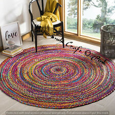 Braided Floor Dhurrie Round Jute Mat Indian 4 x 4 ft Handmade Cotton Rag Rugs