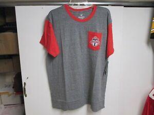 "TORONTO FC SOCCER (FANATICS) ""MLS"" POCKET SHIRT (XL) GRAY AND RED NWT VERY SOFT"