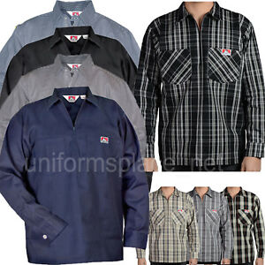 Ben Davis Long Sleeve Shirts POCKETS Hickory Stripe Solid Color 1/2 Zipper Shirt