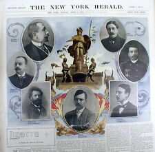 1897 newspaper Color poster-like display 7 FRENCH WRITERS Prevost ANATOLE FRANCE