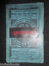 W H Smith rilievo ridotti Mappa di SHROPSHIRE-c1910-Color, montato su tela