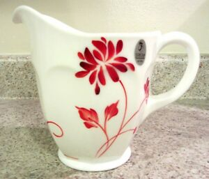 "Fenton Handpainted Red ""Silhouette"" on Milk Glass Pitcher, new in box"