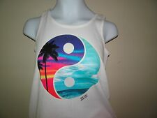 NWT JUSTICE SIZE 7 BEACH YIN YANG TANK TOP WHITE TROPICAL RIBBED NEW