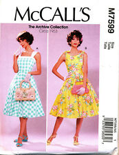 MCCALL'S SEWING PATTERN 7599 MISSES 14-22 RETRO 50s FLARED DRESSES & PETTICOAT