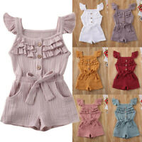 Infant Toddler Baby Kids Girl Boy Ruffle Bow Romper Jumpsuit Playsuit Outfits