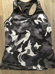 ATHLETA Camo Spiral Tank Top Size Large Camo Bra Support Shirt Mesh Racerback