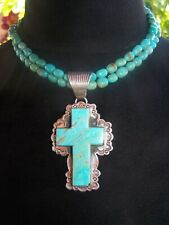 Sterling Silver Huge Southwestern Turquoise Cross Pendant Necklace~Dan Dodson