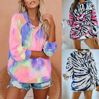 Womens Tie Dye Hoodies Sweatshirt Hooded Sweater Jumper Tops Pullover Outwear UK