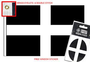 5ft x 3ft Flag of Cornwall St Piran Cornish Kernow Flag Cornwall FREE STICKER