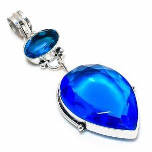 "Swiss Blue Topaz Gemstone 925 Sterling Silver Jewelry Pendant 2.88"" f054"