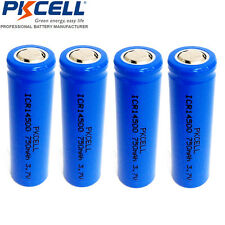 4pc ICR14500 3.7V 750mAh 14500 Li-ion Rechargeable Battery PKCELL Fast Shipping