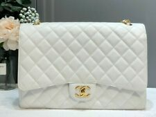 AUTH CHANEL WHITE QUILTED CAVIAR LEATHER CLASSIC MAXI DOUBLE FLAP BAG GOLD HW