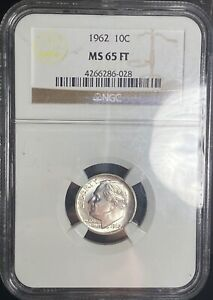 NGC MS 65 FT 1962 Silver Roosevelt Dime 10C Uncirculated Coin