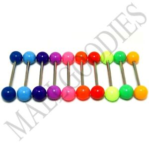 "W010 Acrylic Tongue Rings Barbells Bar 14G Plain Solid Colors 5/8"" 16mm 10pcs"