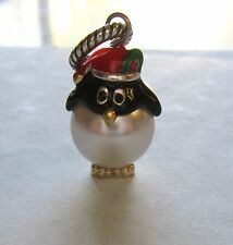 Brighton Penguin  Charm- Santa Hat- pudgy  White pearl bead -holiday/Christmas