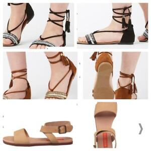 Ladies  summer sandals with tie up ankle strap