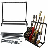 US 5 Guitar Rack Stand Folding Five Multiple Stage Storage Bass Holder Mount