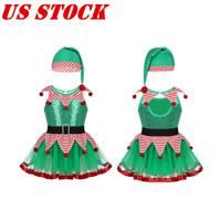 US Kids Girl Christmas Costume Ballet/Ice Skating Dress Xmas Party Elf Leotards
