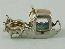 RARE Vintage Sterling Silver INDIAN CARRIAGE Pulled By BULLS Charm