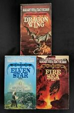 Lot of 3 Margaret Weis Books - Death Gate Cycle 1-3 Fire Sea Elven Dragon Wing
