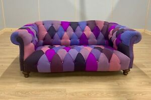 Lewis Montgomery 2 Seater Chesterfield Sofa in chequered multi colour 100% Wool
