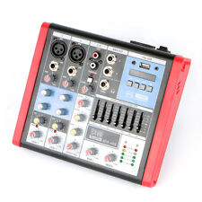 4 Channels Audio Mixer Console Mixing EQ Equalizer DJ Sound Desk Mic 48v USB MP3