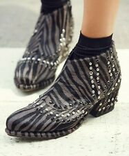 Free People Womens Chasing Cowboys Calf Hair Studded Ankle Boots Black Gray US 9