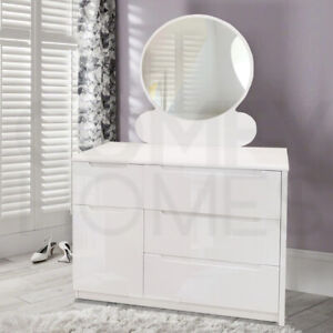 White Gloss 4 Drawer 1 Door Dressing Table & Stool - Free Delivery!