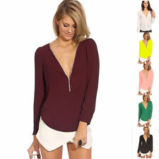 Chiffon V Neck Casual Singlepack Tops & Shirts for Women