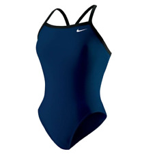 NWT Nike Women One piece Solid Blue Athletic Competitive Swim Suit 715705 Sz S