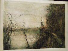 Bernard Gantner bord de fleuve paysage d'hiver lithographie p50