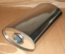 """7"""" x 4"""" Oval x 16"""" Long universal stainless steel exhaust silencer"""