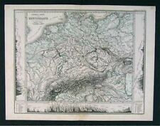 1879 Stieler Map - Germany Physical Europe Austria Alps