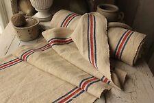 Vintage homespun linen / hemp striped grain sack material Washed fabric 14.9Yds