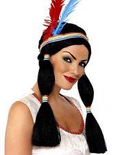 INDIEN Princesse Perruque Déguisement avec bandeau & PLUMES nouveau par SMIFFYS