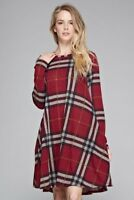 Women's Plaid Sweater Dress Boho Swing Flare Tunic Long Sleeves Side Pockets